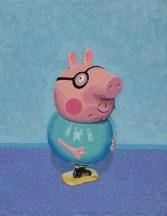 """Daddy Pig"" Acrylic on Canvas, Sold. Dimensions 19cm x 26cm."