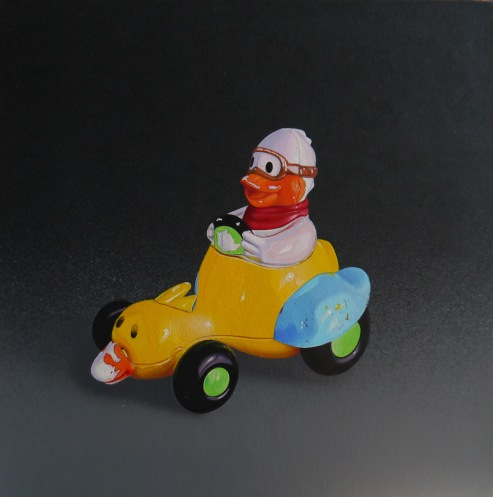"""Duck driving Duckmobile"" Acrylic on Vinyl on Panel, Sold"