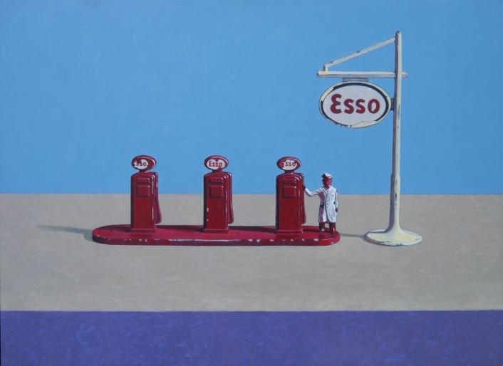 """Lesney Esso Pumps"" Acrylic on board, 49.5 x36 cm, AV Framed, £740 + P&P"