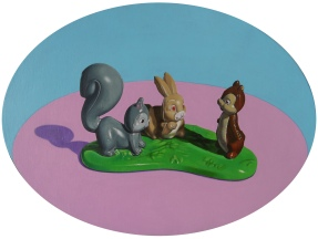 """Little Creatures"" Acrylic on Canvas Oval Canvas Board, 30 x 40 cm : Sold"