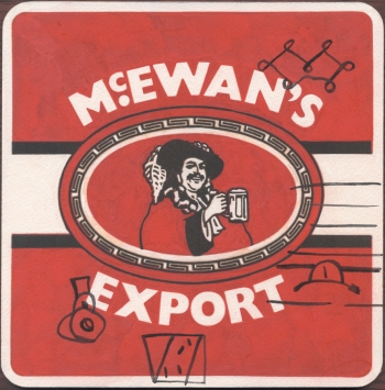 "McEwan's Export"" Gouache on archival paper on card. Dimensions 18,5cm x 18.5cm, AV."