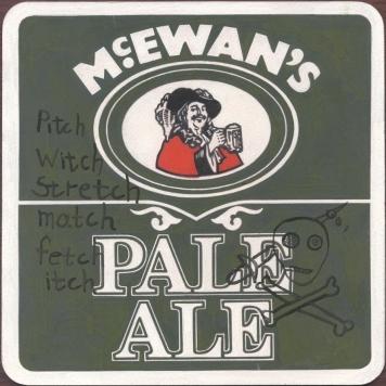 "McEwan's Pale Ale"" Gouache on archival paper on card. Dimensions 18,5cm x 18.5cm, AV."