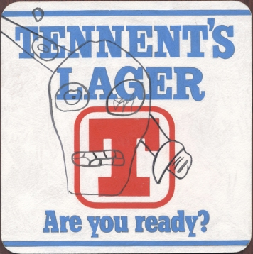 """Tennents Lager"" Gouache on archival paper on card. Dimensions 18,5cm x 18.5cm, AV"